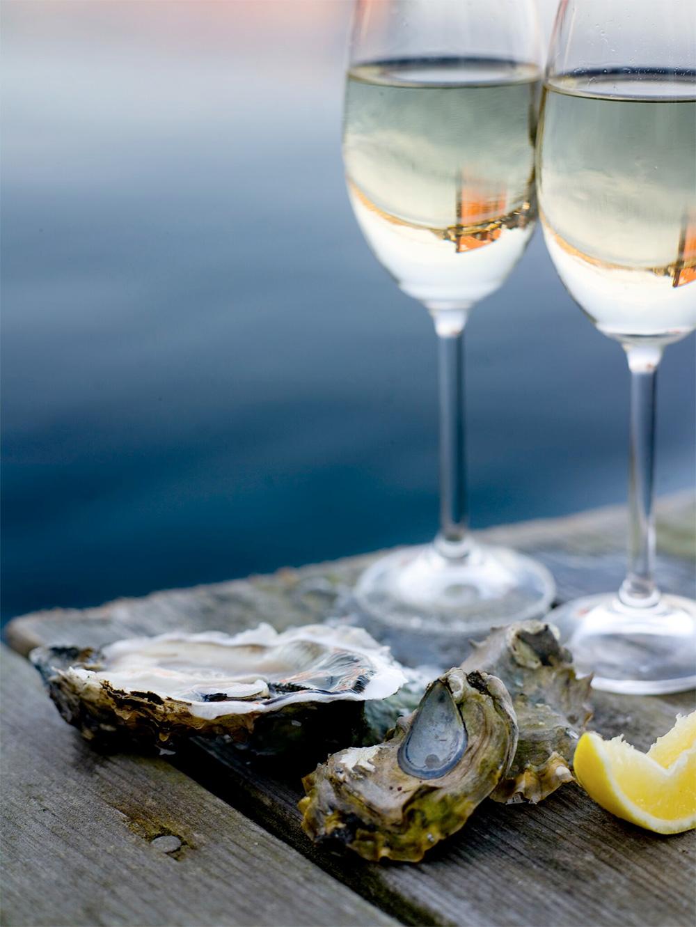 Vin och skaldjur på hotell Salt & Sill